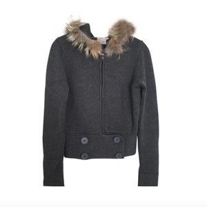 Michael Kors Fur Lined Hooded Sweater Gray Small